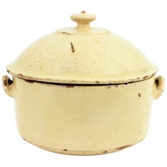 French Provincial Beige Glazed Terracotta Casserole or Tureen