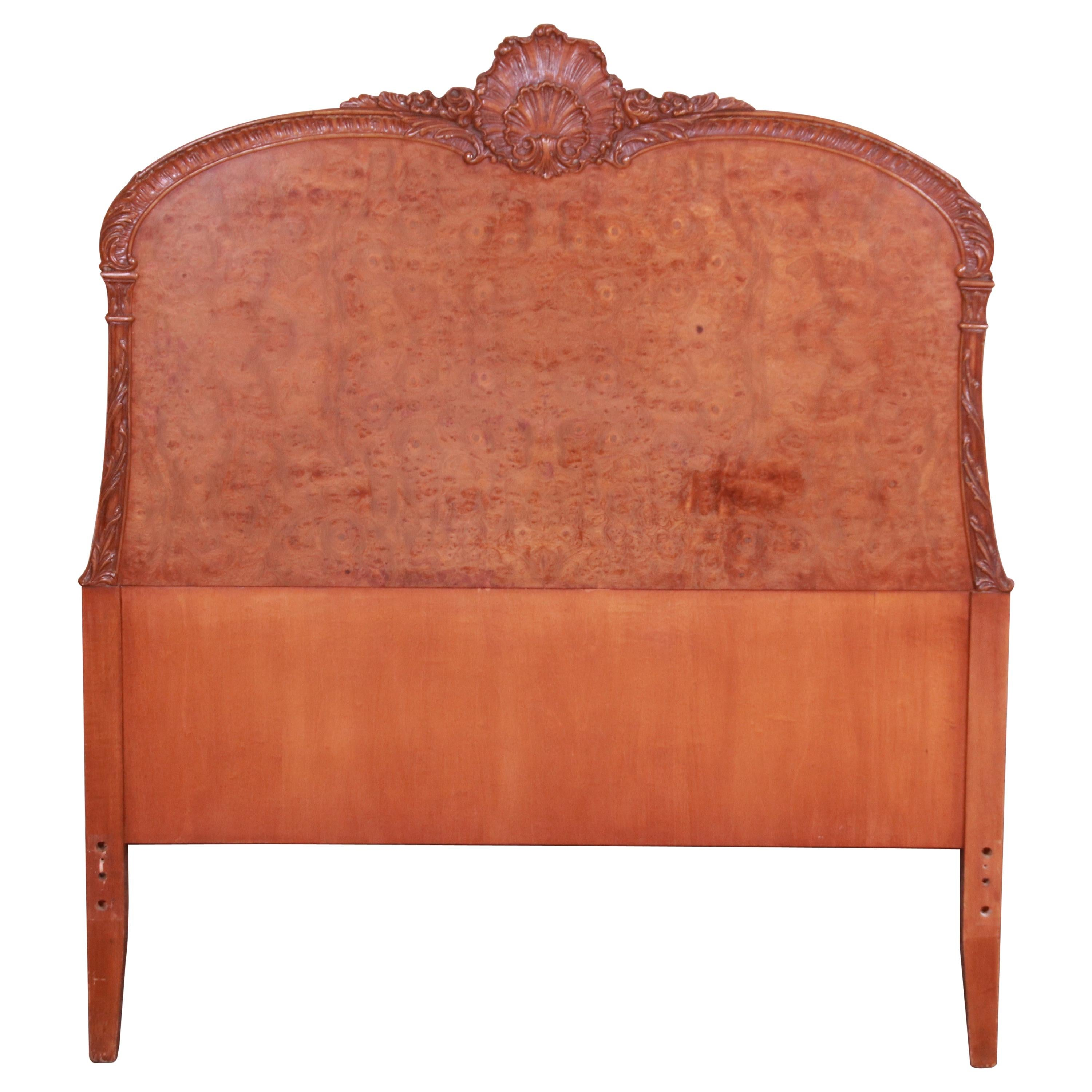 French Provincial Burl Wood Twin Headboard Attributed to Romweber, circa 1940s