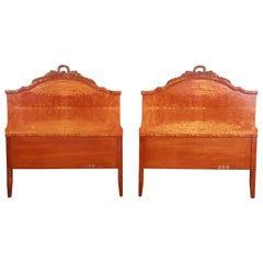 French Provincial Burl Wood Twin Headboards Attributed to Romweber, circa 1940s