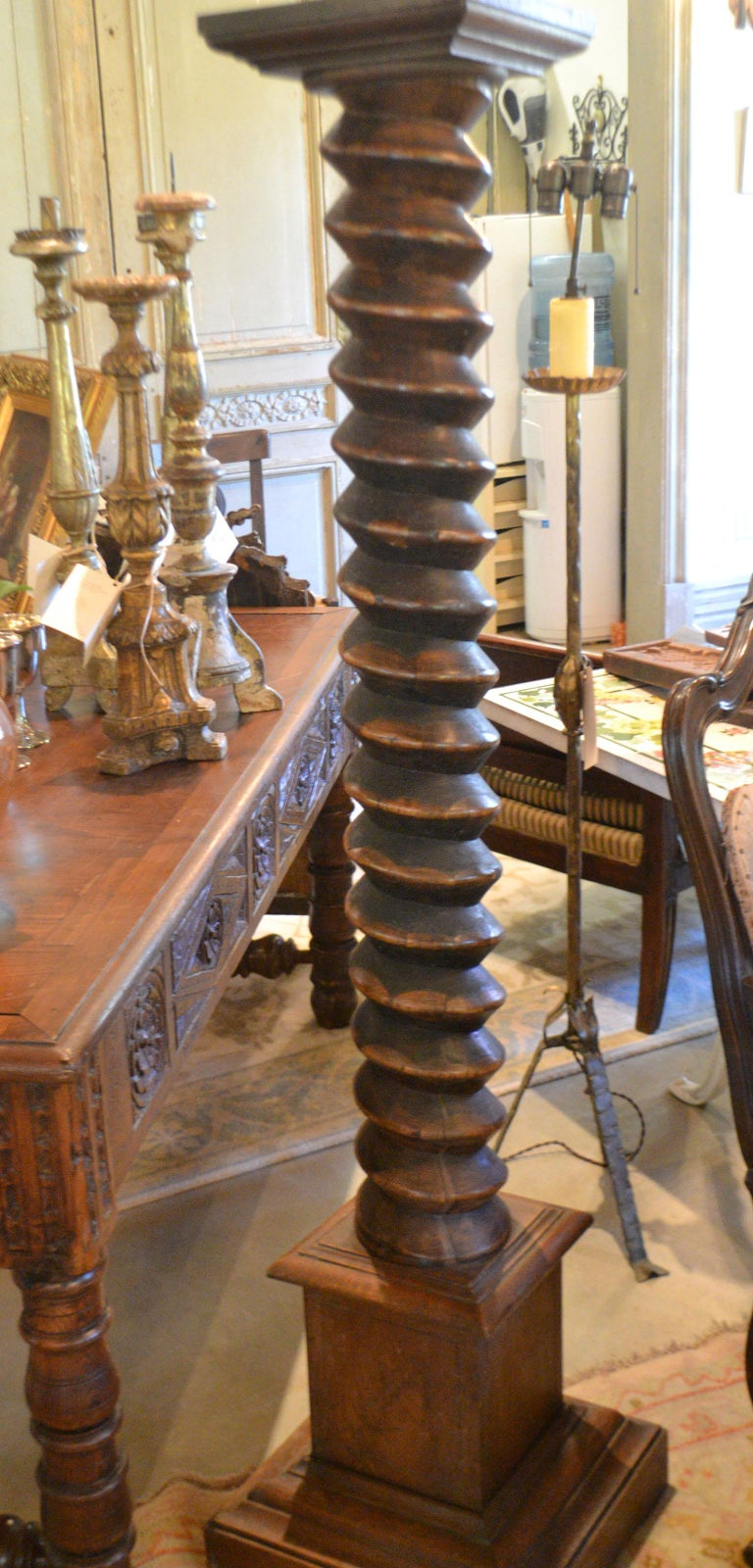 French provincial carved cherry wine press screw.