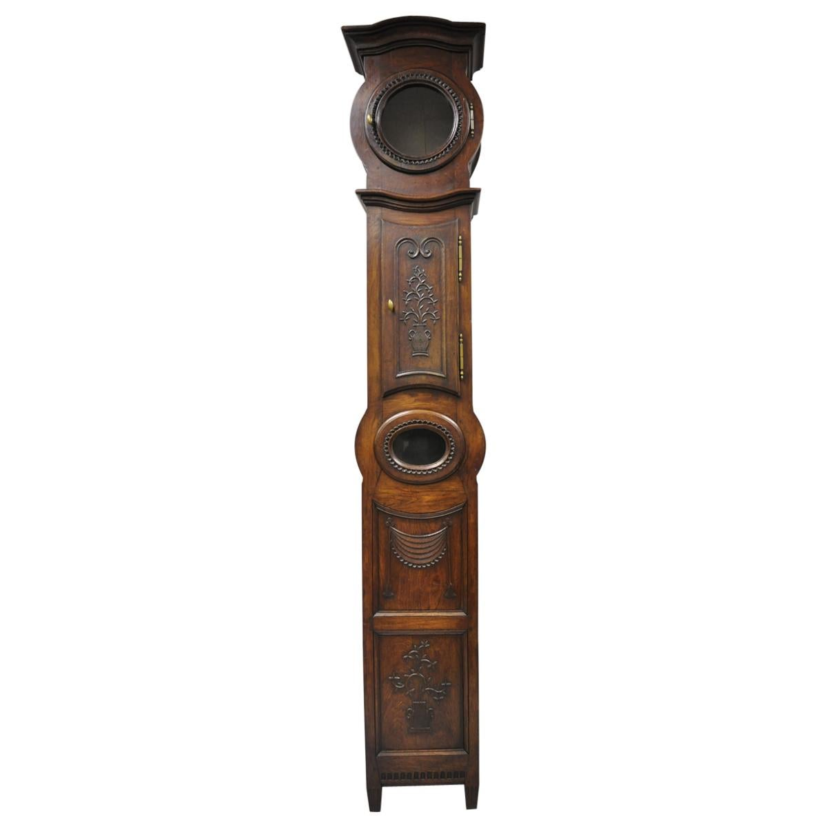 French Provincial Carved Fruitwood Walnut Grandfather Clock Tall Case