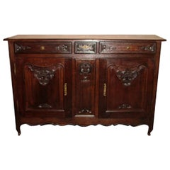French Provincial Elmwood Buffet with Three Drawers over Two Doors, circa 1800