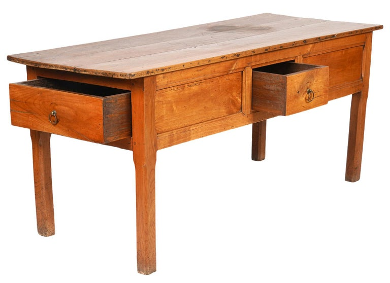 Brass French Provincial Fruitwood Three-Drawer Work Table, circa 1830 For Sale