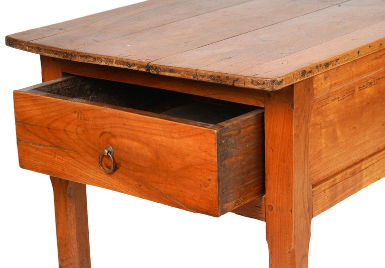 French Provincial Fruitwood Three-Drawer Work Table, circa 1830 For Sale 1