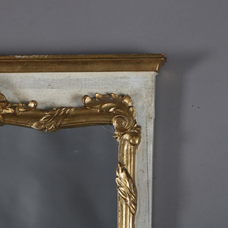 Carved French Provincial Giltwood Foliate and Shell Wall Mount Dressing Mirror For Sale