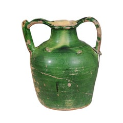 French Provincial Green Glazed Olive Oil Two-Handled Jug Pottery, circa 1850