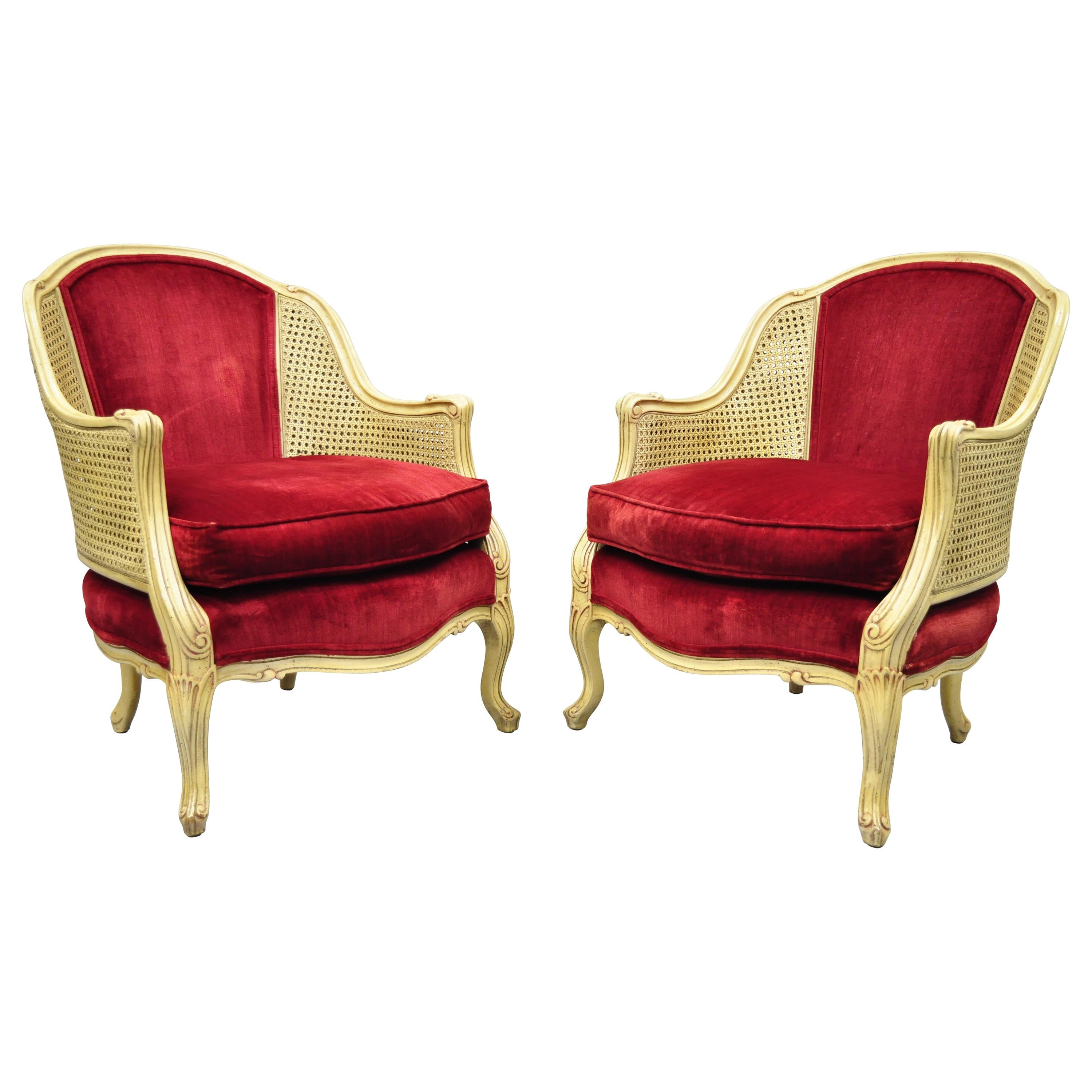French Provincial Hollywood Regency Red Cane Bergere Club Arm Chairs, a Pair