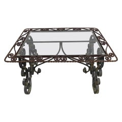 Provincial Glass-Top and Verde Green Wrought Iron Cocktail Table, France, 1920