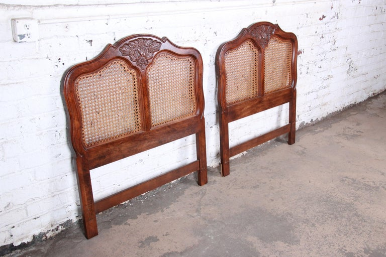 American French Provincial Louis XV Carved Oak and Cane Twin Headboards by Hickory, Pair For Sale