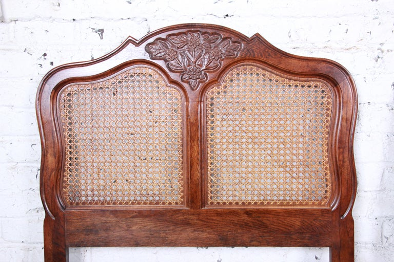 French Provincial Louis XV Carved Oak and Cane Twin Headboards by Hickory, Pair In Good Condition For Sale In South Bend, IN