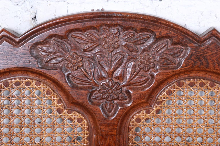 Late 20th Century French Provincial Louis XV Carved Oak and Cane Twin Headboards by Hickory, Pair For Sale