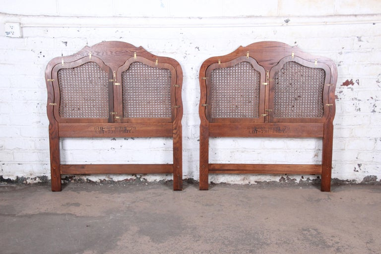 French Provincial Louis XV Carved Oak and Cane Twin Headboards by Hickory, Pair For Sale 1