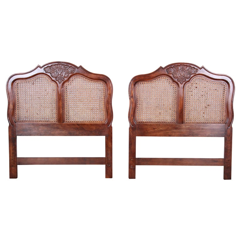 French Provincial Louis XV Carved Oak and Cane Twin Headboards by Hickory, Pair For Sale