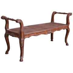 French Provincial Louis XV Carved Walnut and Cane Window Bench