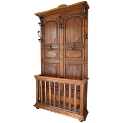 French Provincial Louis XV Coat Rack in Carved Chestnut and Wrought Iron