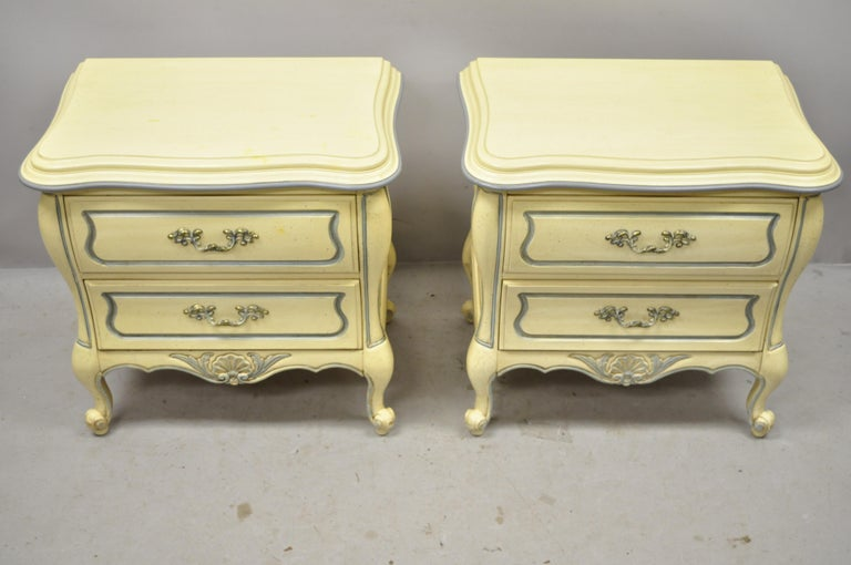 French Provincial Louis XV Country Cream Lacquer Bombe Nightstands, a Pair For Sale 6