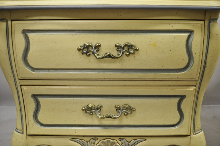Wood French Provincial Louis XV Country Cream Lacquer Bombe Nightstands, a Pair For Sale