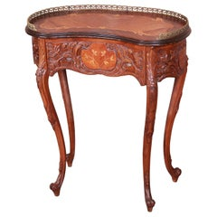French Provincial Louis XV Inlaid Mahogany Kidney Shape Nightstand or Side Table
