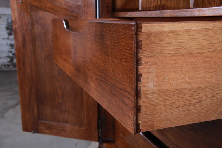 French Provincial Louis XV Oak Armoire Dresser by Hickory For Sale 5