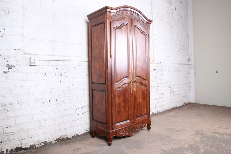 American French Provincial Louis XV Oak Armoire Dresser by Hickory For Sale