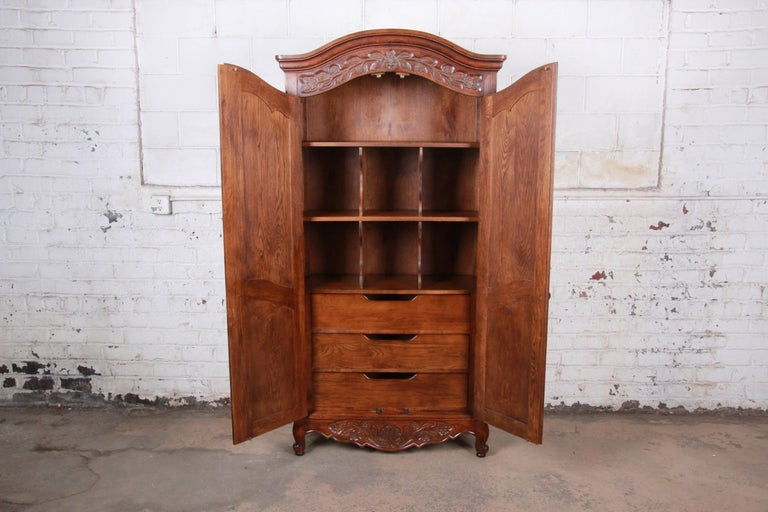 French Provincial Louis XV Oak Armoire Dresser by Hickory For Sale 2