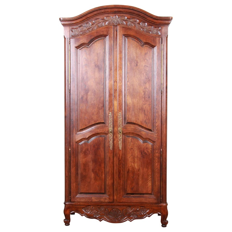 French Provincial Louis XV Oak Armoire Dresser by Hickory For Sale