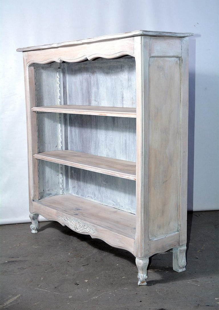 Hand-Painted French Provincial Louis XV Style Bookshelf For Sale
