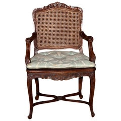 French Provincial Louis XV Style Caned Armchair / Bergere Chair