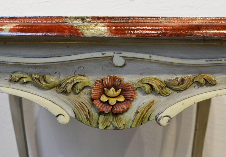 French Provincial Louis XV Style Painted Faux Marble-Top Dining Table For Sale 3