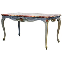 French Provincial Louis XV Style Painted Faux Marble-Top Dining Table
