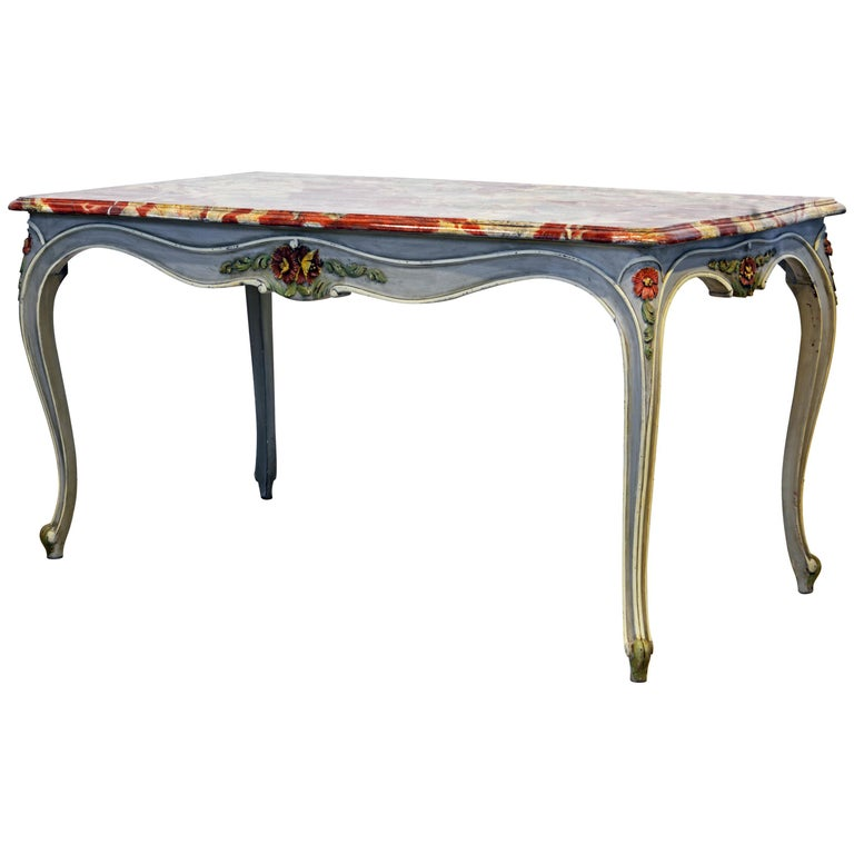 French Provincial Louis XV Style Painted Faux Marble-Top Dining Table For Sale