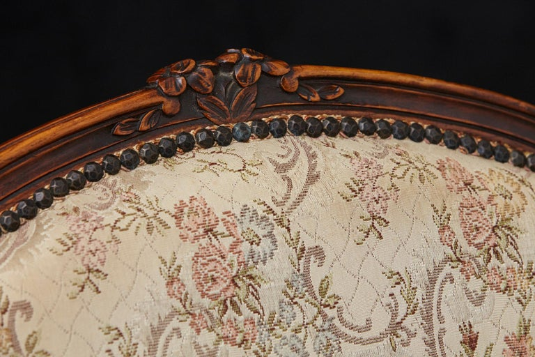 French Provincial Louis XV Style Walnut Fauteuil with Nailhead Trim, circa 1930s For Sale 5
