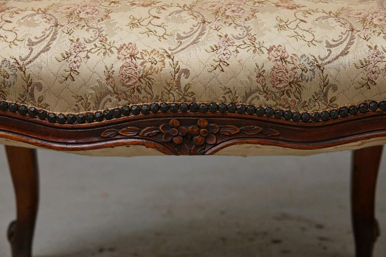 French Provincial Louis XV Style Walnut Fauteuil with Nailhead Trim, circa 1930s For Sale 7