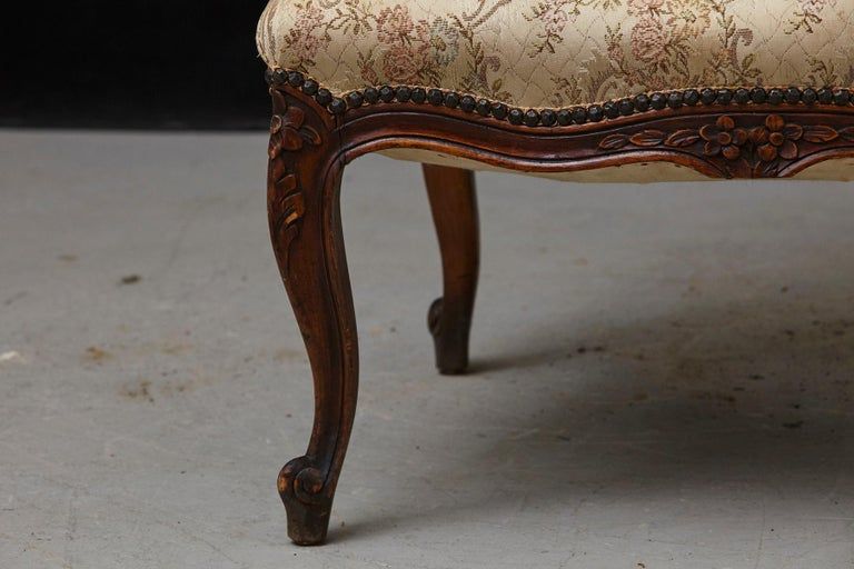 French Provincial Louis XV Style Walnut Fauteuil with Nailhead Trim, circa 1930s For Sale 8