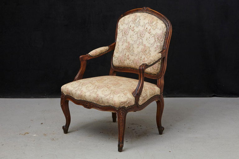20th Century French Provincial Louis XV Style Walnut Fauteuil with Nailhead Trim, circa 1930s For Sale