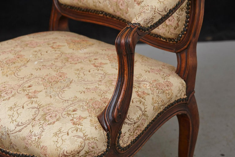 French Provincial Louis XV Style Walnut Fauteuil with Nailhead Trim, circa 1930s For Sale 2