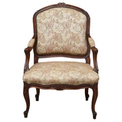 French Provincial Louis XV Style Walnut Fauteuil with Nailhead Trim, circa 1930s