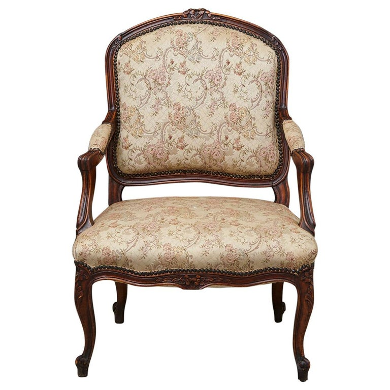 French Provincial Louis XV Style Walnut Fauteuil with Nailhead Trim, circa 1930s For Sale