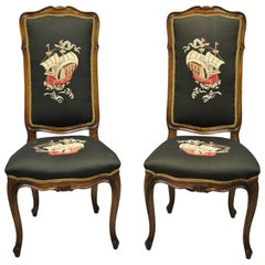 French Provincial Louis XV Walnut Side Chairs w/ Ship Boat Crevel Work, a Pair