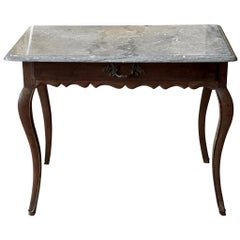 French Provincial Marble Top Table, 18th-19th Century