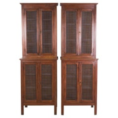 French Provincial Metal Mesh Pantry Cabinets, a Pair