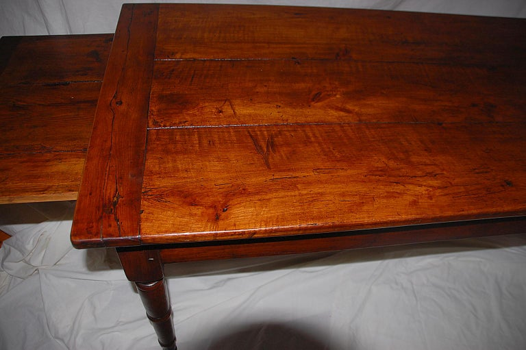 French Provincial mid-19th Century Cherry Farmhouse Table 5'11