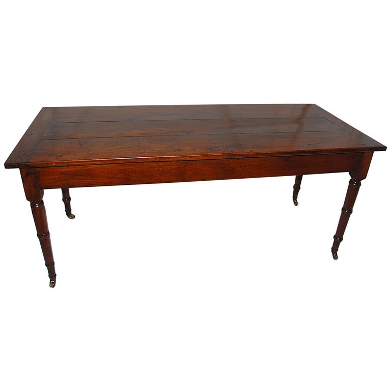 """French Provincial mid-19th Century Cherry Farmhouse Table 5'11"""" Long For Sale"""
