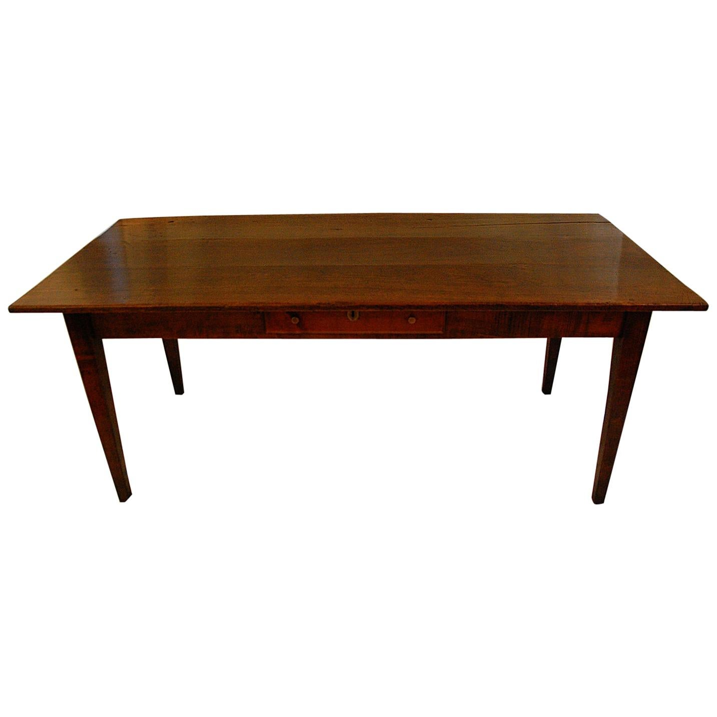 French Provincial Mid-19th Century Cherry Farmhouse Table