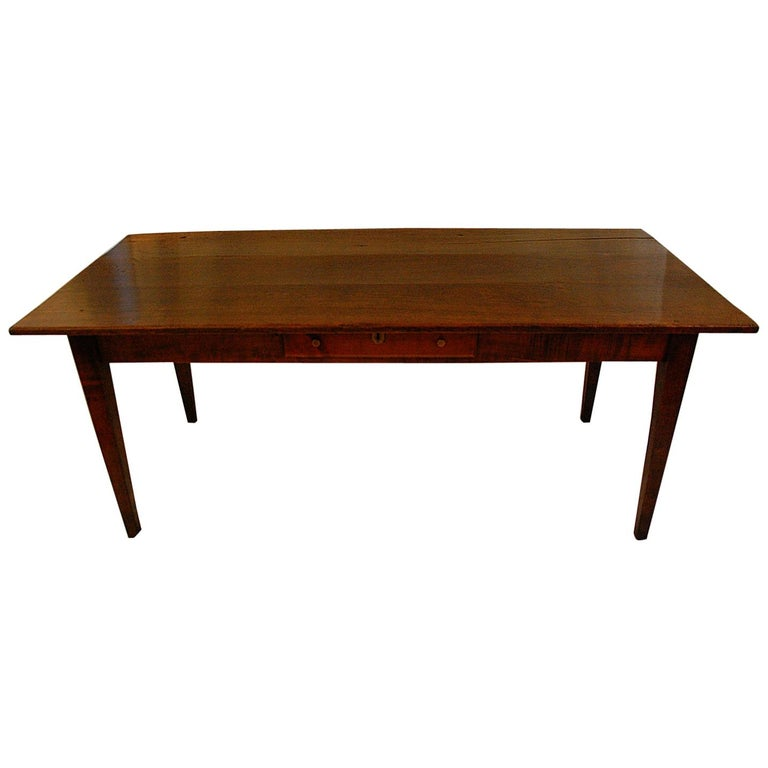 French Provincial Mid-19th Century Cherry Farmhouse Table For Sale