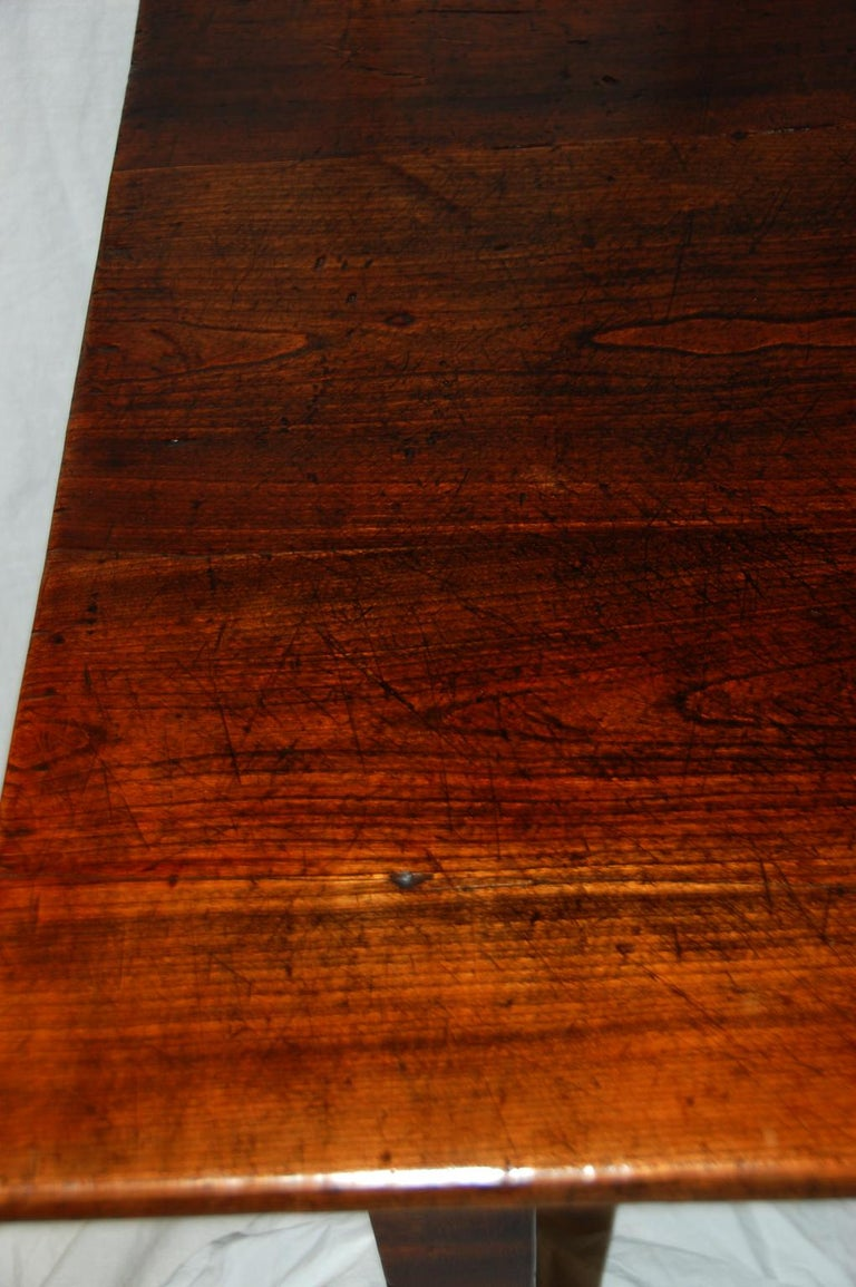 French Provincial Mid-19th Century Cherry Farmhouse Table For Sale 2
