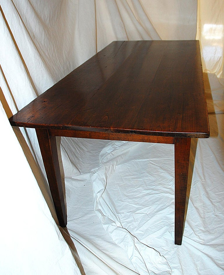French Provincial Mid-19th Century Cherry Farmhouse Table For Sale 3