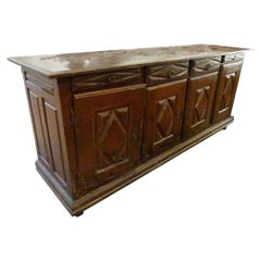 French Provincial Midcentury Wooden Buffet with Original Patina