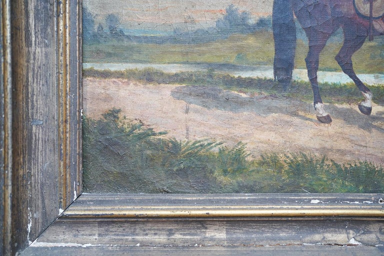 French Provincial Naïve School Oil on Canvas of a Rural Scene, 1880, M. Gilbert For Sale 8