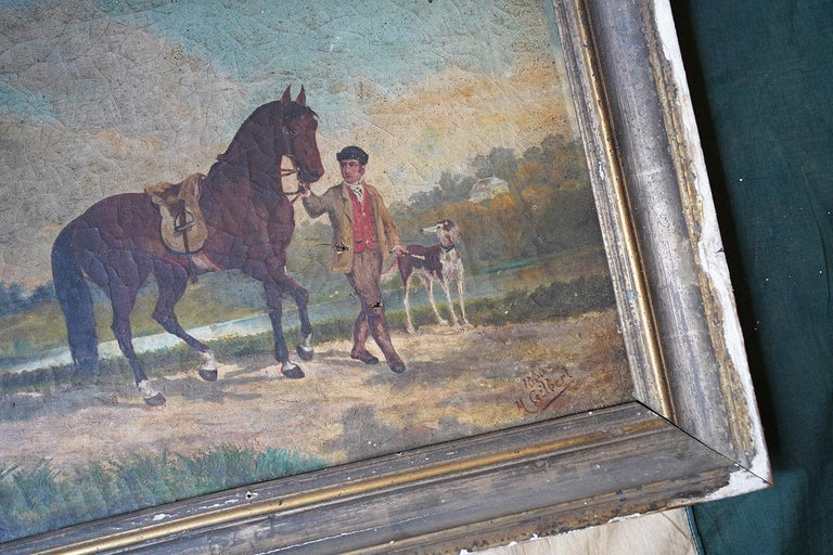 French Provincial Naïve School Oil on Canvas of a Rural Scene, 1880, M. Gilbert For Sale 11